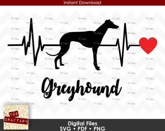 Greyhound Love Heart Heartbeat SVG File