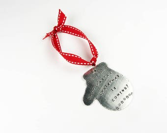 Mitten Ornament for Knitters - Funny Christmas Humor - Christmas Tree Ornament for Yarn Lovers