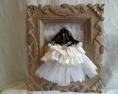 Miniature paper and fabric art dress and jacket Little Ida's Flowers by Hans Christian Anderson