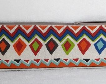 knitting needle case, tribal knitting needle bag, knitting bag, tribal pouch, needle case, knitting pouch, needle case, large pencil case