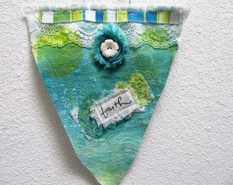 Super Cute Mixed Media Fabric PRAYER FLAG/Wall Hanging2