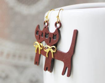 Maroon Cat Earrings - Cat Lady Gift - Cat Jewelry - Cat Accessories - Kitten Earrings - Kitten Jewelry - Maroon Earrings - Gold Earrings