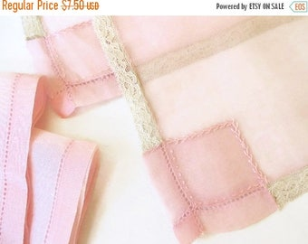40% OFF NOW Finest Pale Pink Sheer Placemat and Napkin Set for Two, Sheer Pink Tea Tray Linens, Bridal Gift Linens, Sheer Pink Linen Fabric
