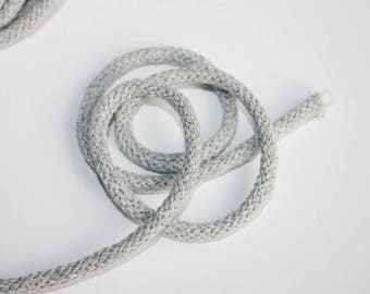 3 mm Light Gray Cotton Rope = 5 Yards = 4.57 Meters of Elegant Cotton Braided Cord - Bulky Yarn - Super Bulky Yarn - Macrame Cotton Cord