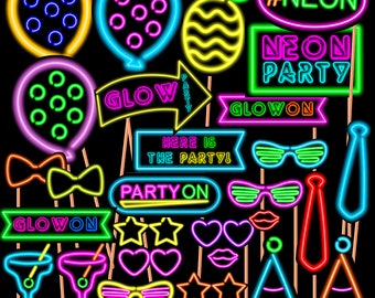 Neon sign etsy neon sign photo booth props neon party neon birthday neon glow props solutioingenieria Image collections