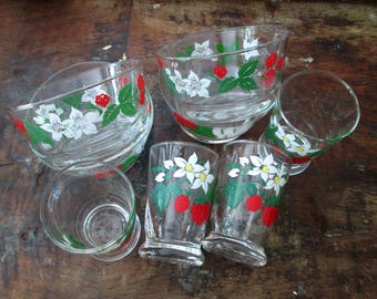 Libbey's Strawberry Breakfast Set Cereal Bowls Juice Glasses Service for 4