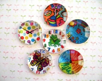 Clock Round Glass Magnet, Art Color Clock Fridge Magnet, Round Glass Magnets, Clock Decroation