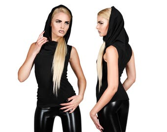 Hooded Top in Black, Oversize Cowl Neck, Minimalist Fashion, Soft Stretch Cotton Tank, Post Apocalyptic, Burning Man, by LENA QUIST
