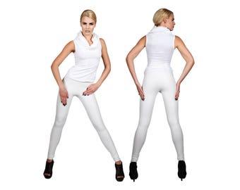 White Leather-Look Leggings w. Matte Finish, Spandex Pants, Rave Club Wear, Glam Rock Clothing, Heavy Metal Rocker Meggings, by LENA QUIST