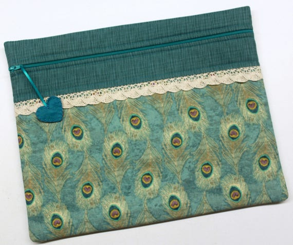 Peacock Feathers Cross Stitch Embroidery Project Bag