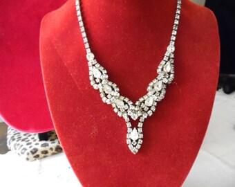 Rhinestone Necklace Vintage Necklace Rhinestone Choker