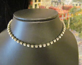 "Vintage Rhinestone Necklace Choker 14.5"" long"