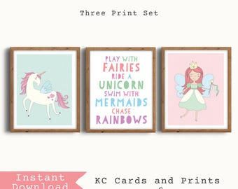 Fairy Princess Nursery Art, Unicorn Girl Nursery, Unicorn Printable, Unicorn Wall Art, Girls Room Decor, Unicorn Print, Instant Download