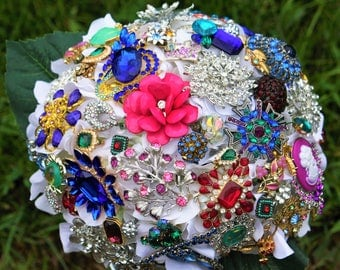 Vintage Brooch Bouquet, Blue Wedding Bouquet, Deposit only