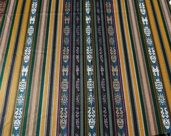 "Ecuador Fabric 54""wide yardage tablecloth w/fringe stripes Andean motifs green + Gold tightly woven acrylic SouthWest style - TWO yard cut"