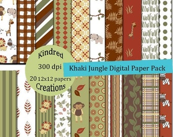 99 Cent Sale Khaki Jungle Digital Paper Pack 300 dpi 12x12 20 papers For Personal or Small Business Use