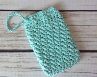 STOCKING STUFFER Aqua Soap Saver, Soap Holder, Cotton Soap Pouch, Cotton Washcloth, Shower, Bath Accessory, Soap Pouch, Soap Sock