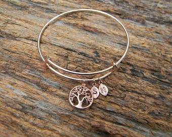Rose gold bangle, family tree bangle, personalized bangle, mother of the groom gift, mother of the bride gift, personalized bracelet