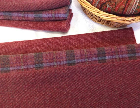 3) fat 1/8ths, Raspberry Plum, Mill dyed Wool Fabric for Rug Hooking and Applique, W433, Dusty purple and raspberry textures