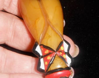 cigale cicada bug good luck carved bakelite tested painted pin brooch