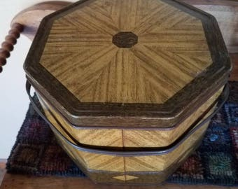 Vintage Loose Wiles biscuit tin picnic basket with handle octagon shape