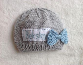Newborn photo prop, pink newborn hat, personalized newborn hat, newborn girl, monogram baby hat, baby props, name beanie, newborn props