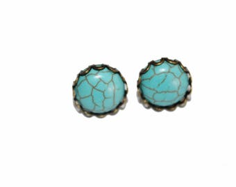 Turquoise earrings, stud earrings, turquoise studs, small studs earrings