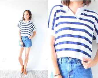 40% OFF CHRISTMAS in JULY Vintage boxy striped 1980's navy blue striped shirt // nautical crop top // boho striped blouse // Xs small shirt