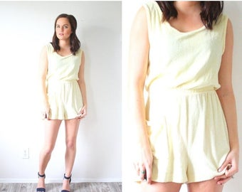 30% OFF SALE Vintage BOHO summer yellow romper // swim cover up mini dress // terry cloth romper // mini summer dress // vacation dress // s