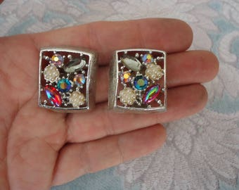 Vintage EMMONS Silver Tone and Multi Glass Stone Square Clip On Earrings