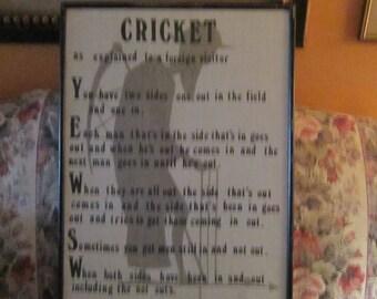 irish linen cricket poster the game of cricket funny framed or unframed vintage
