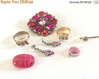 SUMMER SALE Destash Craft Lot of Vintage and Salvaged Shades of Pink Rhinestone Jewelry for Assemblage