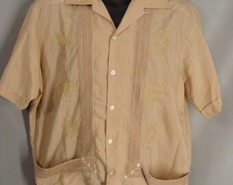 Tan GuayaTeca Guayabera Shirt. Retro Cuban Lounge Shirt. Embroidered Mexican Wedding Shirt. Lightweight Summer Island Shirt. Mens Size XL 42