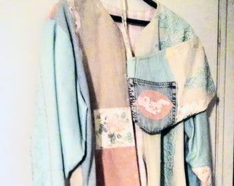 Handmade Jean Jacket and Purse Recycled Xl XXl Woman Spring Southwestern Holiday Special Occasion Gift Mother's Day Christmas