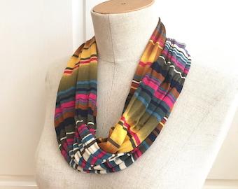 SALE Stretch Jersey Infinity Scarf. Multicolor Stripe Print. Lightweight Layering.