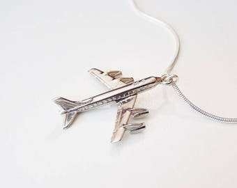 Mid-Century Tribute Necklace: Vintage DC-8 Passenger Jet Sterling Silver Charm Pendant on As-New Vintage Sterling Thin & Slinky Snake Chain