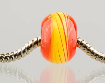Red and Yellow - Big Hole Charm Bead