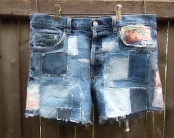 patched jeans shorts, patchwork, up cycled denim, hippie, boho, 7 for all mankind, size 32, short shorts