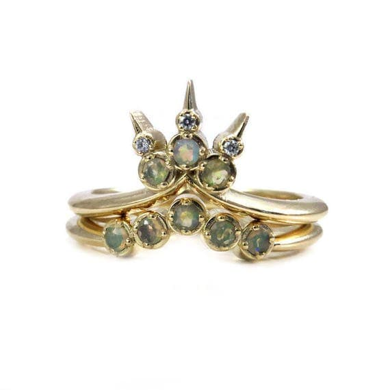 Opal Trident Engagement Ring Set - Stacking Diamond and Opal Bohemian Wedding Rings