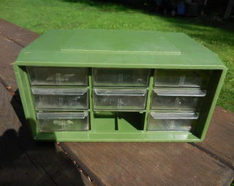 Vintage 1960s to 1970s Akro-Mils,Inc. Ohio Olive Green Small Plastic Utility Box 8 Drawers Craft Room/Garage Nut/Bolts/Beads/Findings Retro