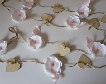 Fabric flower garland, Nursery garland decor, Backdrop decoration Shabby chic flower decoration, Blush pink garland, Party decorations