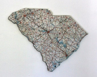 SOUTH CAROLINA State Map Wall Decor | Vintage Map | South Carolina State decor | Perfect Gift for Any Occasion | Large size