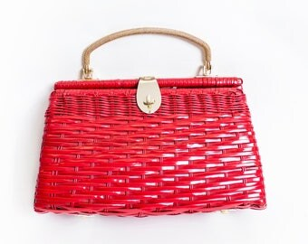 Vintage Basket Purse - 1950s Red Wicker Vinyl Top Handle Bag