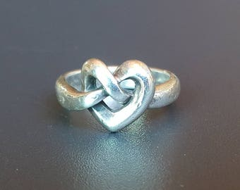 James Avery Sterling Heart Ring Heart Knot Size 5