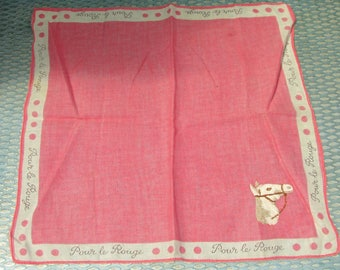 Cute 1950s Pink and White Cotton Handkerchief with Embroidered Horse Head - Pour le Rouge