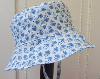 Minion Print Bucket Hat, 1 to 2 Year Boy Sun Hat for Boys, Child Sun Hat