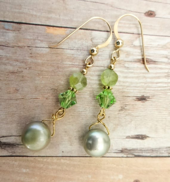 Peridot Ovals, Swarovski Crystal and Freshwater Pearl Earrings