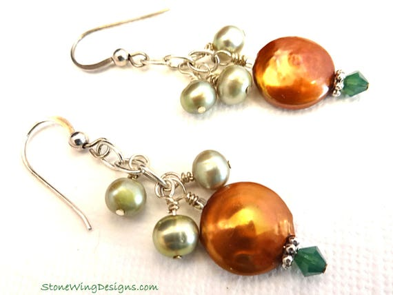 Copper and Green Freshwater Pearl Earrings