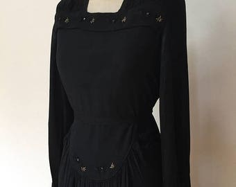 ON SALE Vintage 40s Black Crepe Dress L