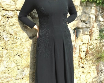 Vintage 40s Black Crepe Dress